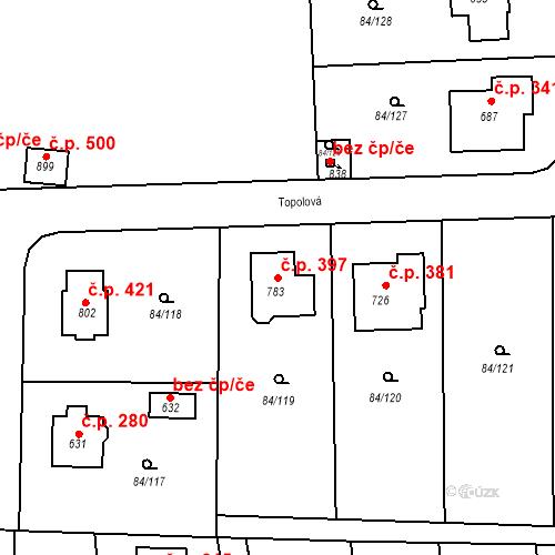 Katastrální mapa Stavební objekt Babice 397, Babice