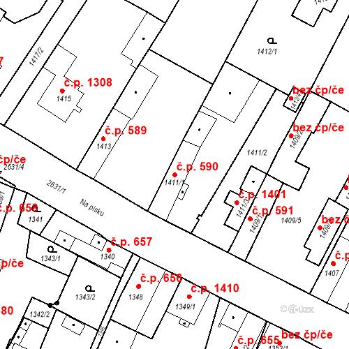 Katastrální mapa Stavební objekt Stará Boleslav 590, Brandýs nad Labem-Stará Boleslav