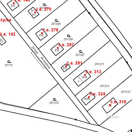 Katastrální mapa Stavební objekt Zlenice 281, Lštění