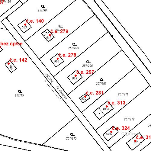Katastrální mapa Stavební objekt Zlenice 297, Lštění