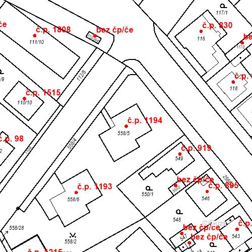 Katastrální mapa Stavební objekt Stará Boleslav 1194, Brandýs nad Labem-Stará Boleslav