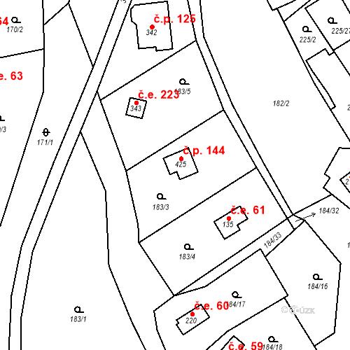 Katastrální mapa Stavební objekt Babice 144, Babice