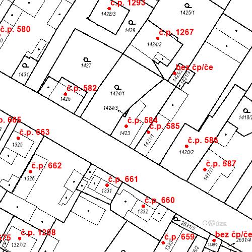Katastrální mapa Stavební objekt Stará Boleslav 584, Brandýs nad Labem-Stará Boleslav