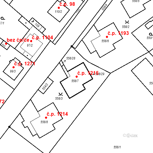 Katastrální mapa Stavební objekt Stará Boleslav 1215, Brandýs nad Labem-Stará Boleslav