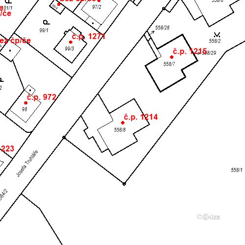 Katastrální mapa Stavební objekt Stará Boleslav 1214, Brandýs nad Labem-Stará Boleslav