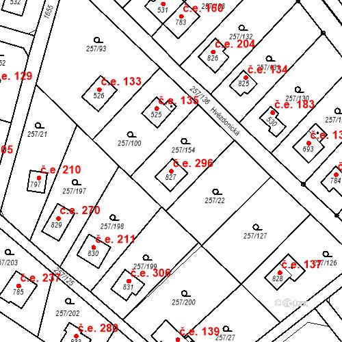 Katastrální mapa Stavební objekt Zlenice 296, Lštění