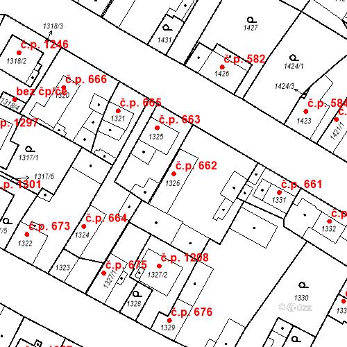 Katastrální mapa Stavební objekt Stará Boleslav 662, Brandýs nad Labem-Stará Boleslav