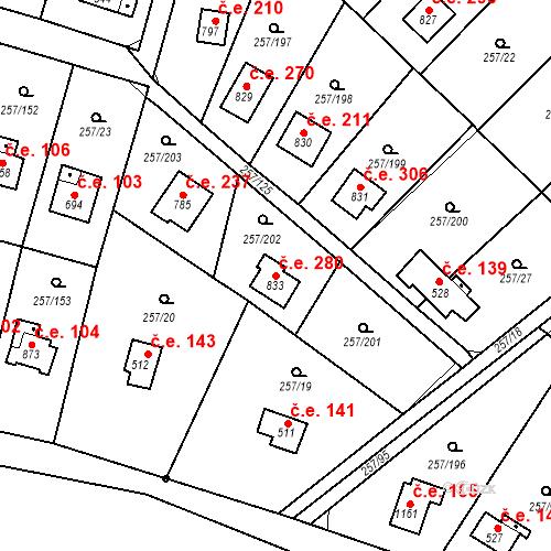 Katastrální mapa Stavební objekt Zlenice 280, Lštění
