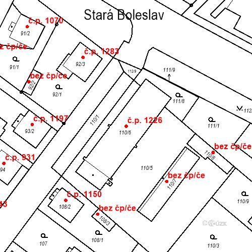 Katastrální mapa Stavební objekt Stará Boleslav 1226, Brandýs nad Labem-Stará Boleslav