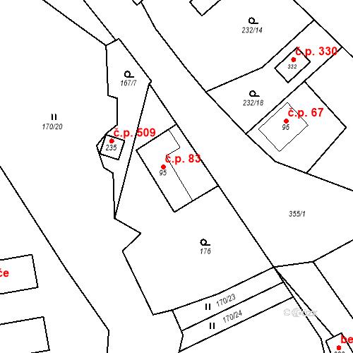 Katastrální mapa Stavební objekt Babice 83, Babice