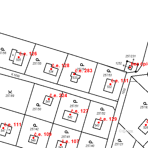 Katastrální mapa Stavební objekt Zlenice 283, Lštění
