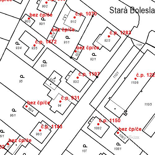 Katastrální mapa Stavební objekt Stará Boleslav 1197, Brandýs nad Labem-Stará Boleslav