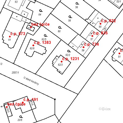 Katastrální mapa Stavební objekt Stará Boleslav 1231, Brandýs nad Labem-Stará Boleslav
