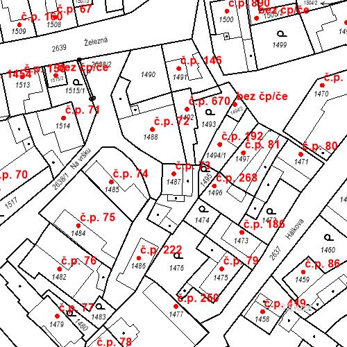 Katastrální mapa Stavební objekt Stará Boleslav 73, Brandýs nad Labem-Stará Boleslav