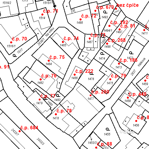 Katastrální mapa Stavební objekt Stará Boleslav 222, Brandýs nad Labem-Stará Boleslav