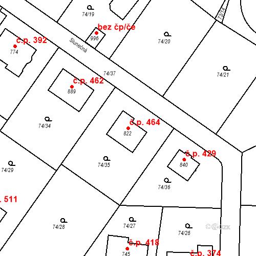 Katastrální mapa Stavební objekt Babice 464, Babice