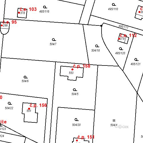 Katastrální mapa Stavební objekt Myšlín 158, Mnichovice