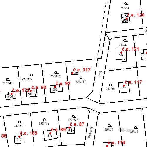 Katastrální mapa Stavební objekt Zlenice 317, Lštění