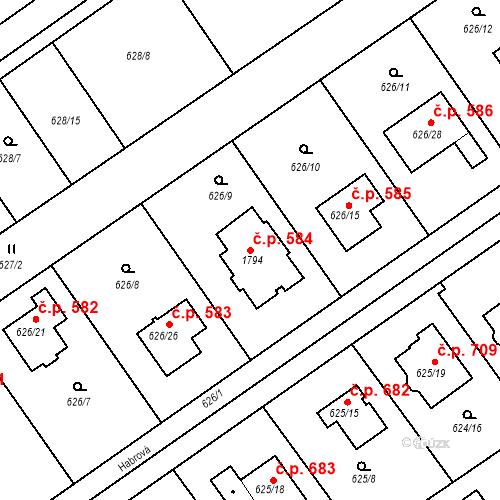 Katastrální mapa Stavební objekt Jirny 584, Jirny