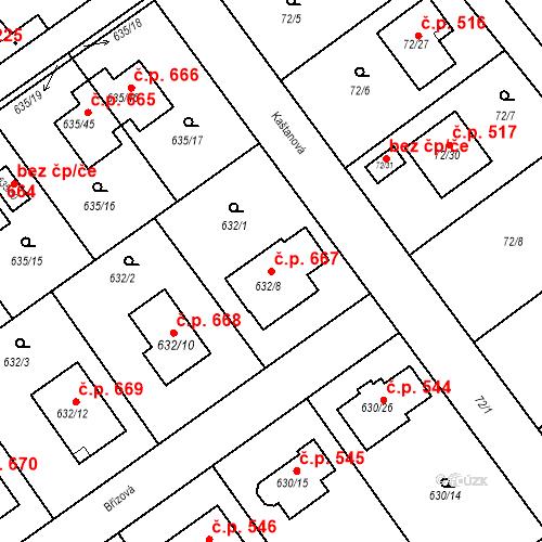Katastrální mapa Stavební objekt Jirny 667, Jirny