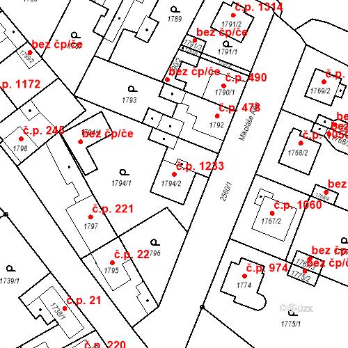 Katastrální mapa Stavební objekt Stará Boleslav 1233, Brandýs nad Labem-Stará Boleslav