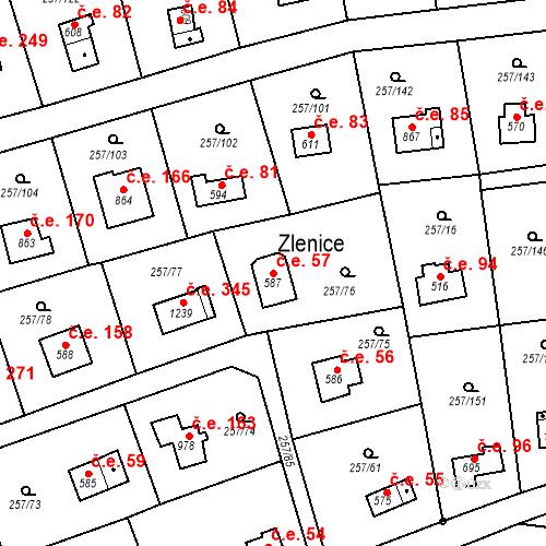 Katastrální mapa Stavební objekt Zlenice 57, Lštění