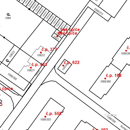 Katastrální mapa Stavební objekt České Velenice 622, České Velenice