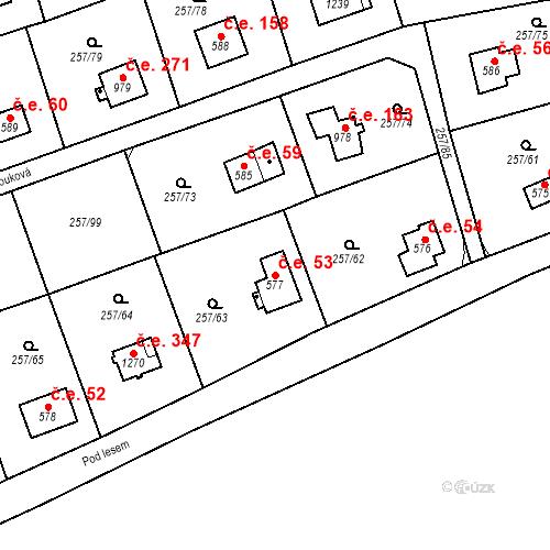 Katastrální mapa Stavební objekt Zlenice 53, Lštění