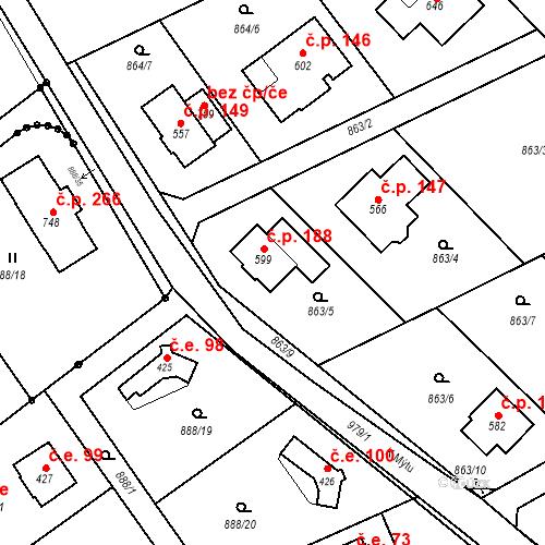 Katastrální mapa Stavební objekt Tehovec 188, Tehovec