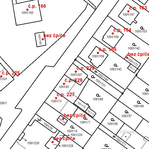 Katastrální mapa Stavební objekt České Velenice 229, České Velenice