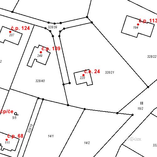 Katastrální mapa Stavební objekt Struhařov 24, Struhařov