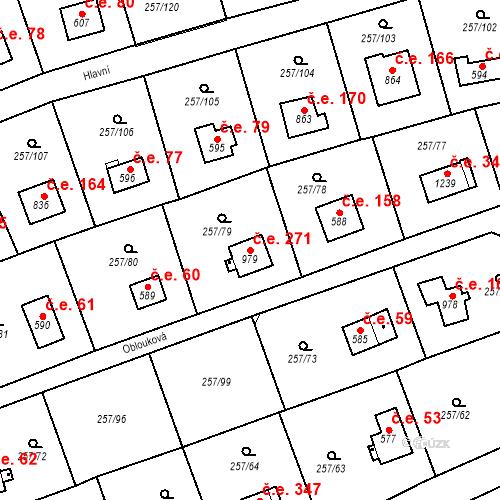 Katastrální mapa Stavební objekt Zlenice 271, Lštění