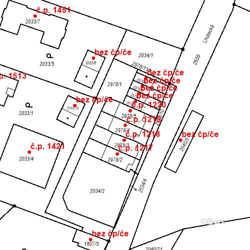 Katastrální mapa Stavební objekt Stará Boleslav 1219, Brandýs nad Labem-Stará Boleslav