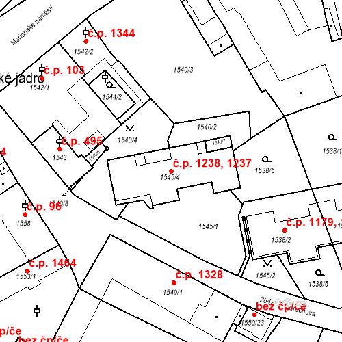 Katastrální mapa Stavební objekt Stará Boleslav 1237, 1238, Brandýs nad Labem-Stará Boleslav