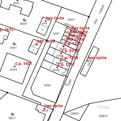 Katastrální mapa Stavební objekt Stará Boleslav 1218, Brandýs nad Labem-Stará Boleslav
