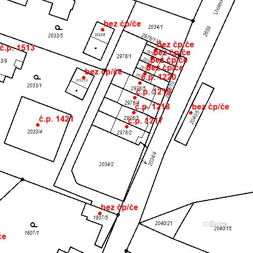 Katastrální mapa Stavební objekt Stará Boleslav 1217, Brandýs nad Labem-Stará Boleslav