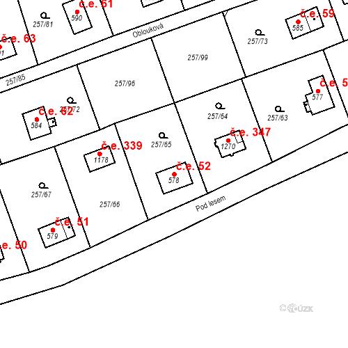 Katastrální mapa Stavební objekt Zlenice 52, Lštění