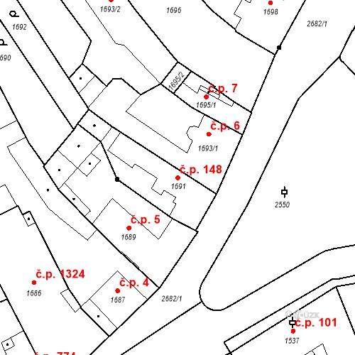Katastrální mapa Stavební objekt Stará Boleslav 148, Brandýs nad Labem-Stará Boleslav