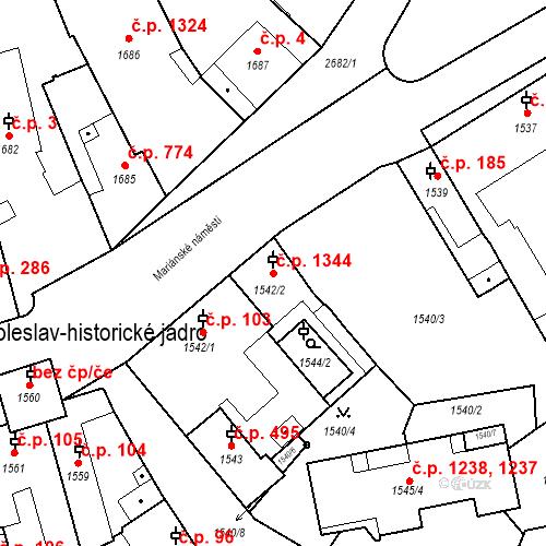 Katastrální mapa Stavební objekt Stará Boleslav 1344, Brandýs nad Labem-Stará Boleslav