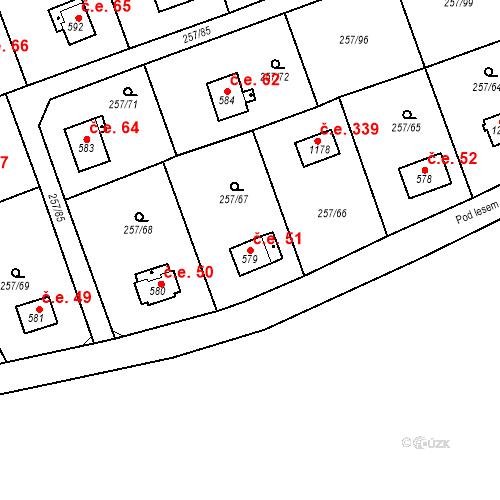Katastrální mapa Stavební objekt Zlenice 51, Lštění