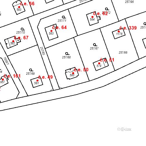 Katastrální mapa Stavební objekt Zlenice 50, Lštění