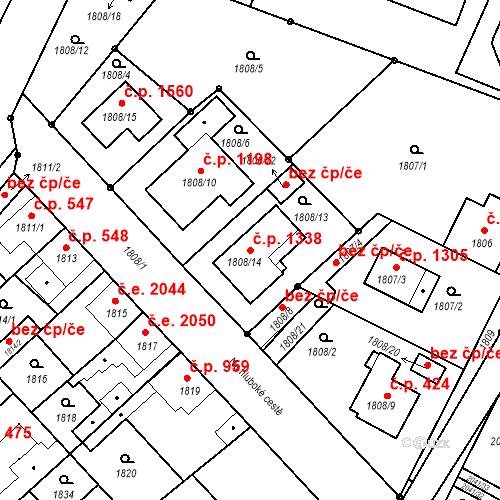 Katastrální mapa Stavební objekt Stará Boleslav 1338, Brandýs nad Labem-Stará Boleslav