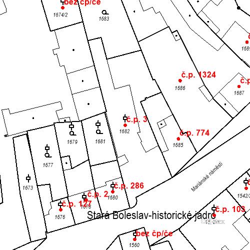 Katastrální mapa Stavební objekt Stará Boleslav 3, Brandýs nad Labem-Stará Boleslav