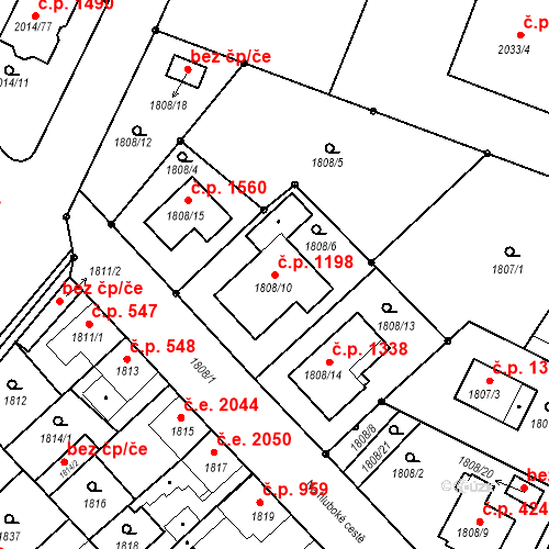 Katastrální mapa Stavební objekt Stará Boleslav 1198, Brandýs nad Labem-Stará Boleslav