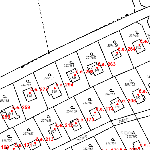 Katastrální mapa Stavební objekt Zlenice 298, Lštění