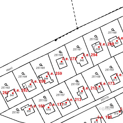 Katastrální mapa Stavební objekt Zlenice 272, Lštění