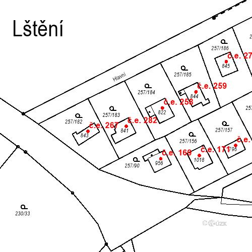 Katastrální mapa Stavební objekt Zlenice 282, Lštění
