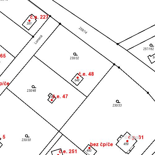 Katastrální mapa Stavební objekt Zlenice 48, Lštění