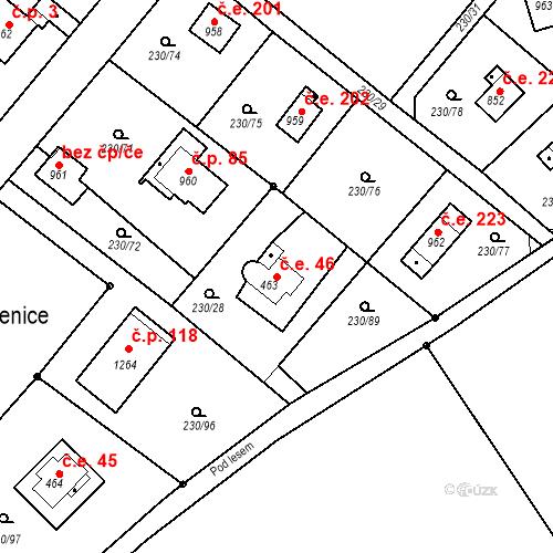 Katastrální mapa Stavební objekt Zlenice 46, Lštění