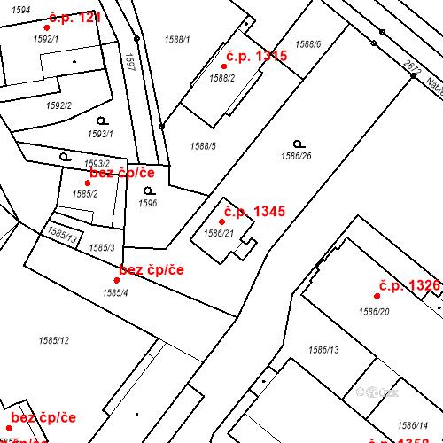 Katastrální mapa Stavební objekt Stará Boleslav 1345, Brandýs nad Labem-Stará Boleslav